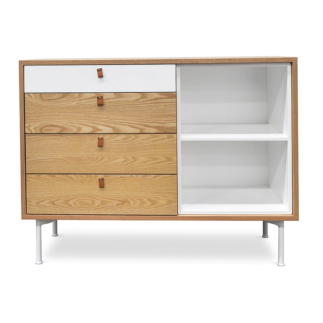 Ollerup Wooden 4 Drawer Sideboard, 110cm, Natural / White