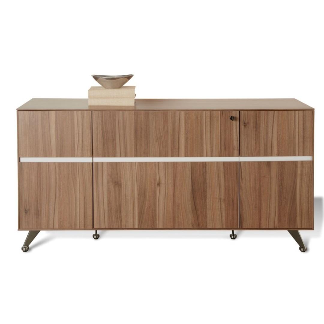 Milando 2 Drawer Filing Cabinet with Cupboard, Walnut