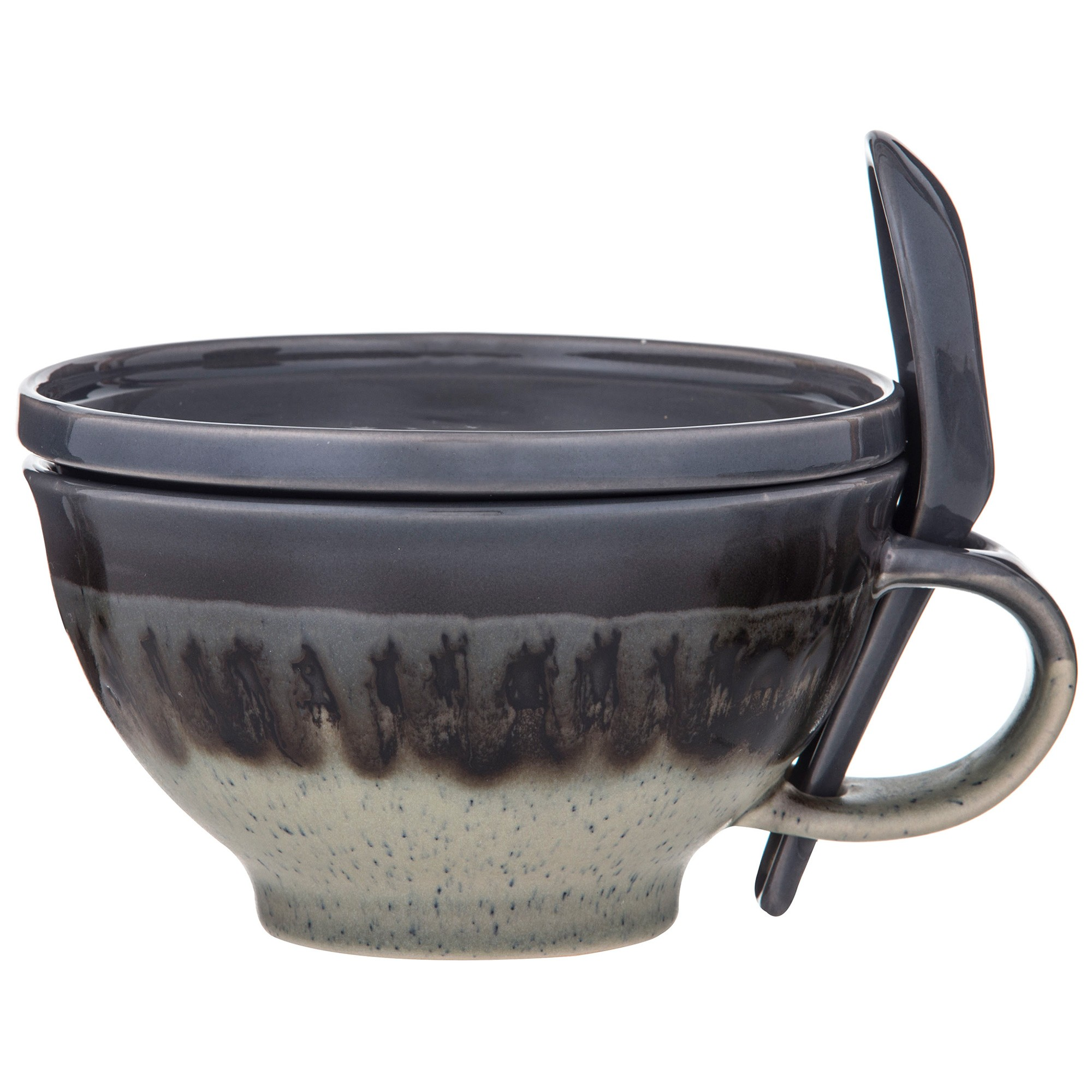Davis & Waddell Ritual 3 Piece Reactive Glaze Ceramic Soup Mug Set, Charcoal