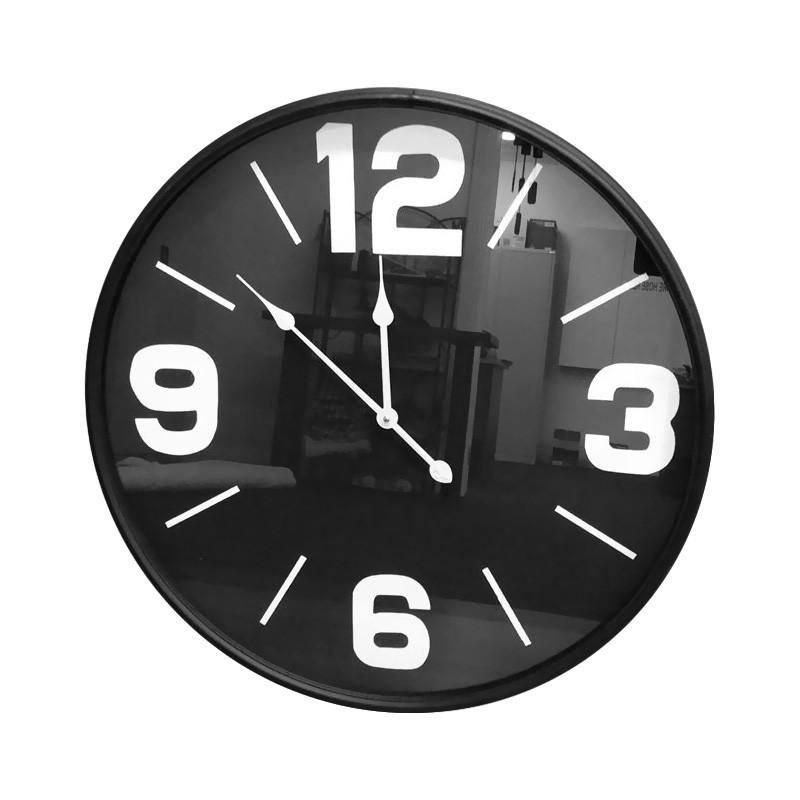 Moyagh Metal Frame Round Wall Clock, 70cm, Black