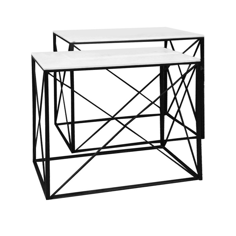 Carohill 2 Piece Marble Top Metal Console Table Set