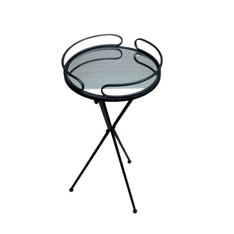 Clover Mirror Top Metal Round Side Table, Black