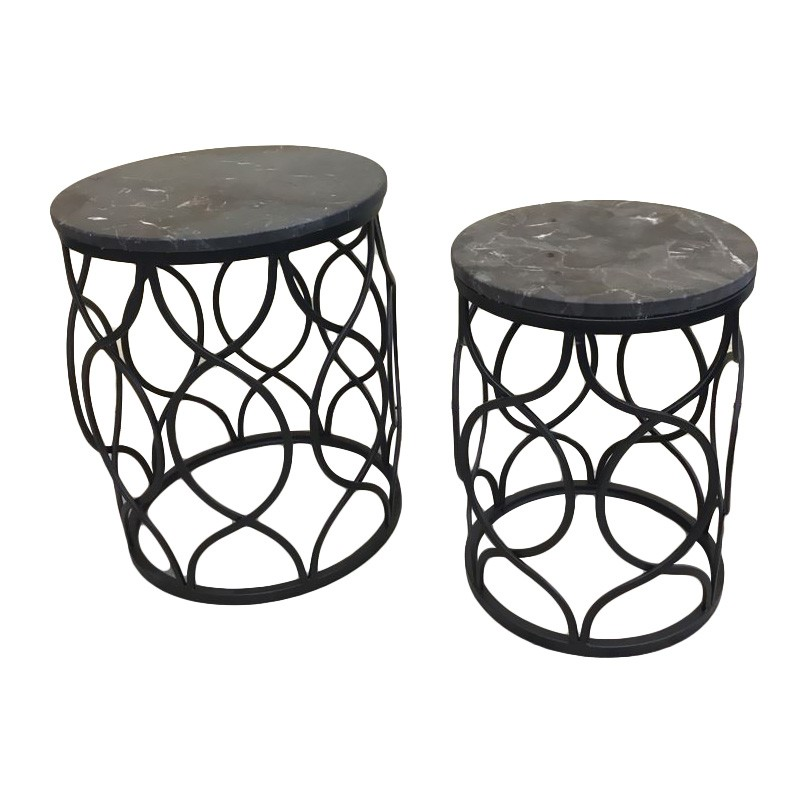 Tela 2 Piece Marble Top Metal Round Side Table Set