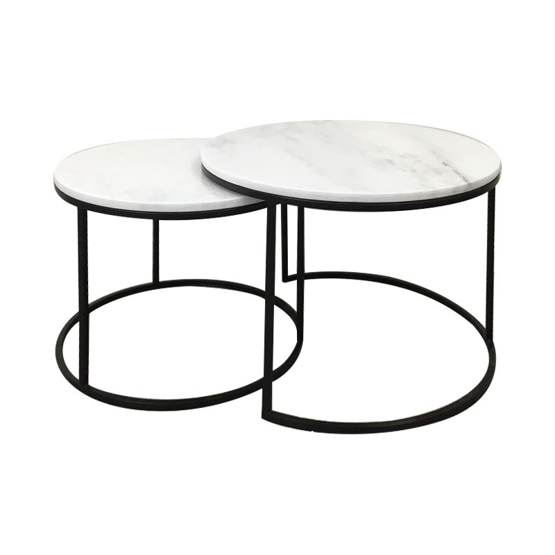 Miles 2 Piece Marble Top Metal Round Nesting Coffee Table Set, 60cm, White / BLack