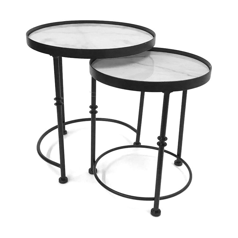 Mietta 2 Piece Metal Round Nesting Side Table Set