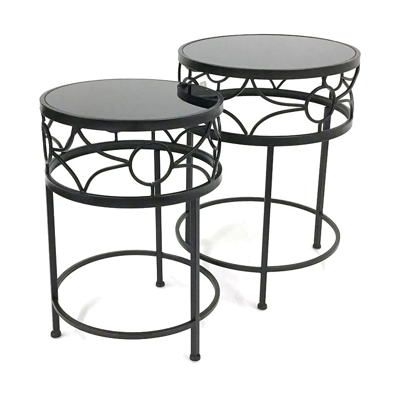 David 2 Piece Glass & Metal Round Side Table Set, Black