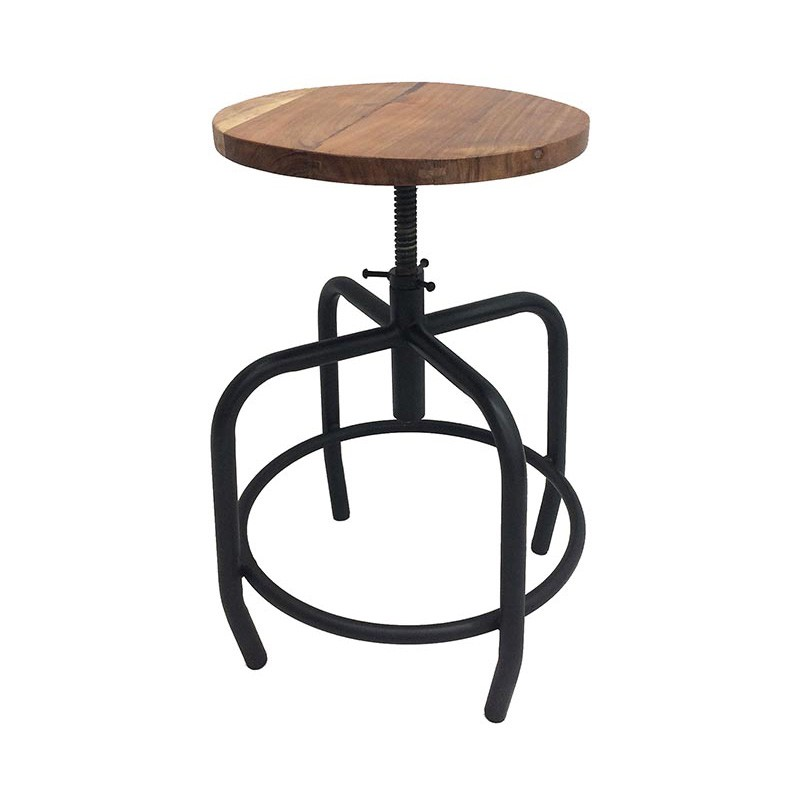 Azur Adjustable Industrial Iron Table Stool with Timber Seat, Black