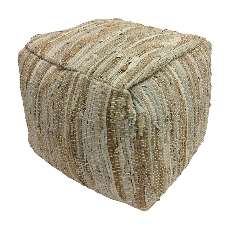 Alta Leather Shred Square Pouf, Tan