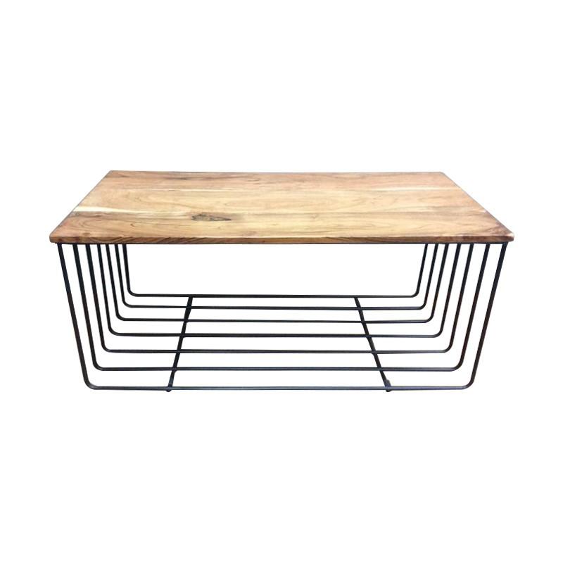 Hugo Timber Top Iron Coffee Table, 90cm