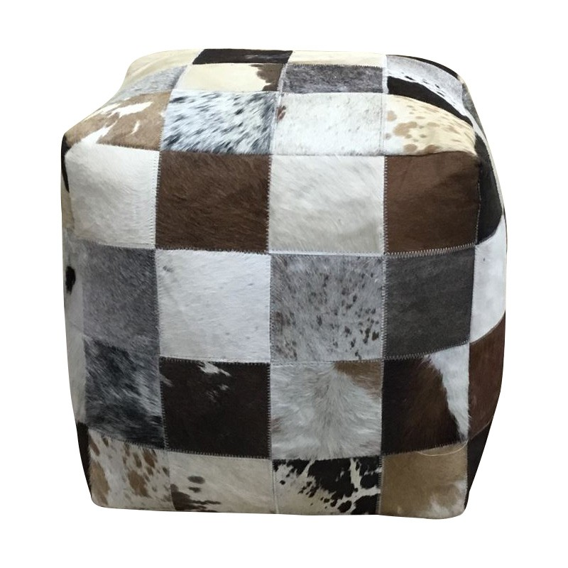 Sally Cow Hide Square Pouf, Square Patch