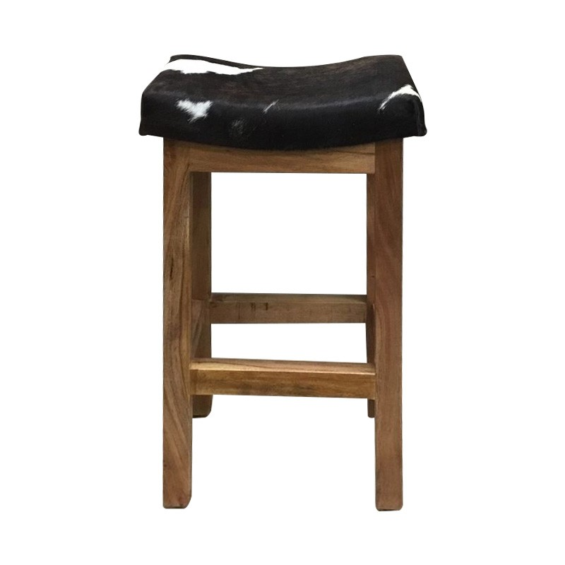 Lilly Cow Hide & Timber Counter Stool, Black