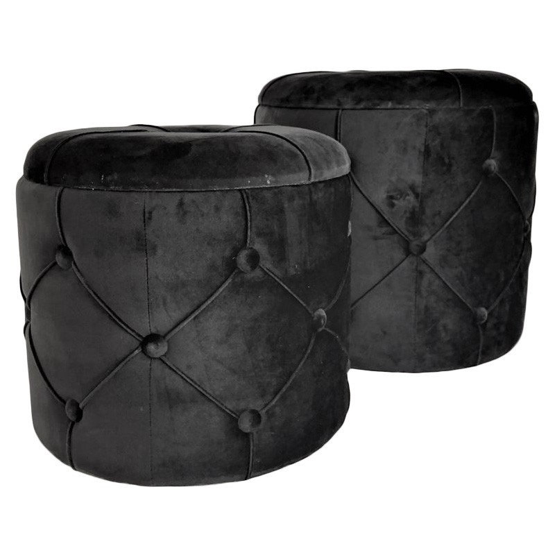 Ricky 2 Piece Velvet Fabric Round Ottoman Set, Black