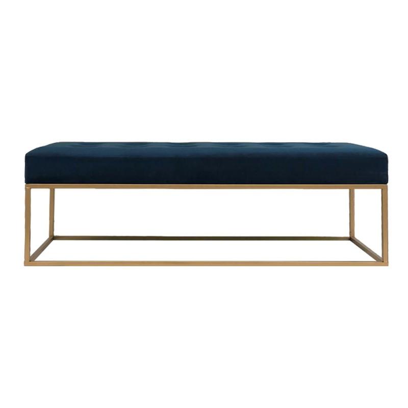 Moose Velvet Fabric & Metal Bench, 120cm, Navy