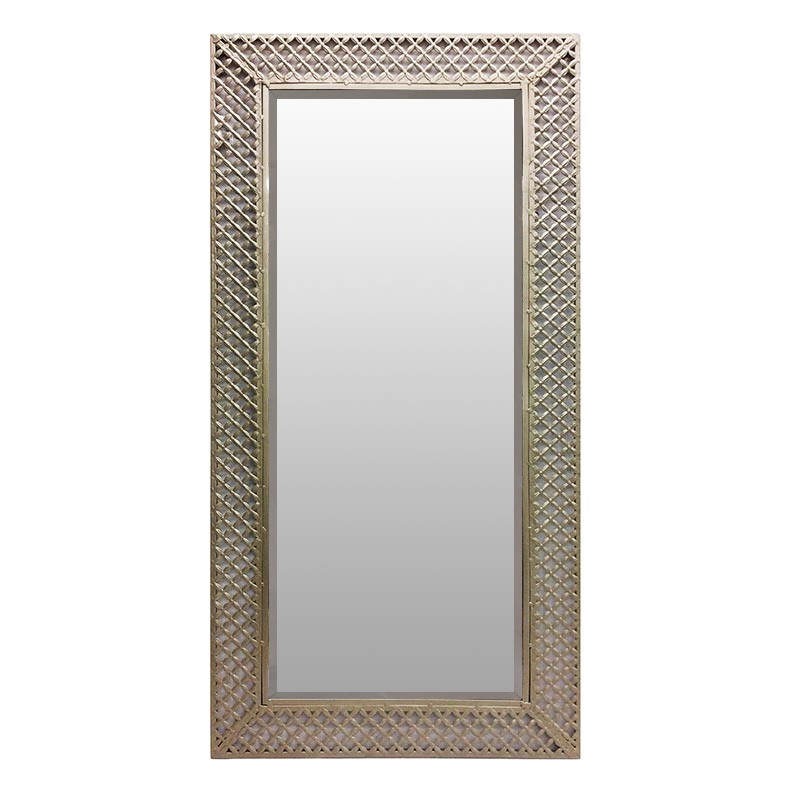 Indy Metal Filigree Frame Wall Mirror, 120cm, Brass