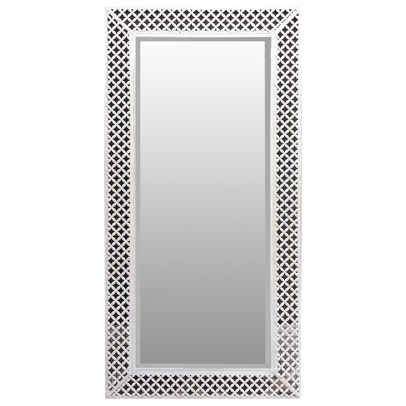 Indy Metal Filigree Frame Wall Mirror, 120cm, White