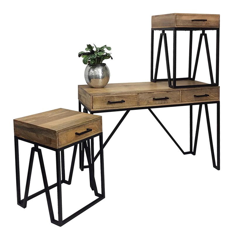 Military 3 Piece Timber & Metal Console & Side Table Set
