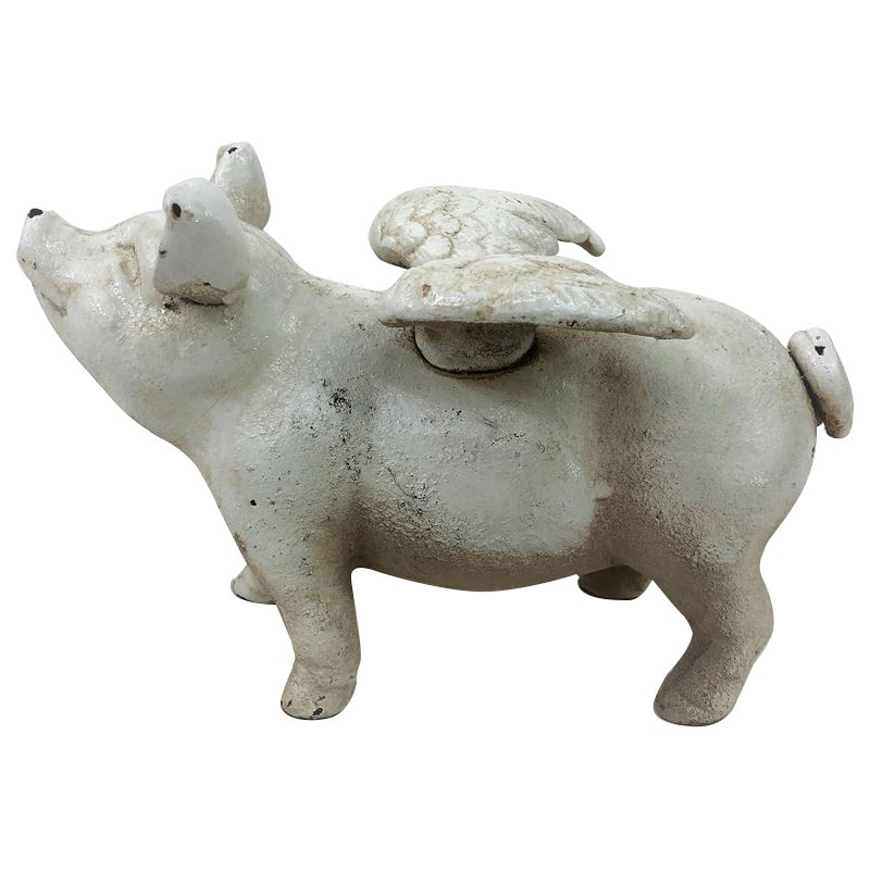 Cast Iron Louis Flying Pig Money Box