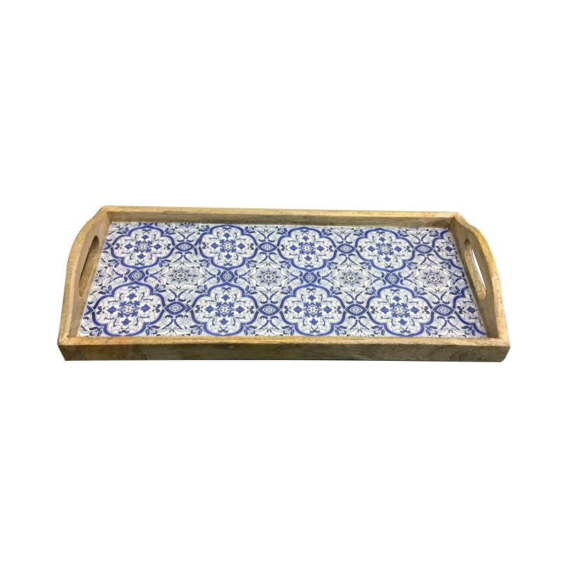 Benson Wooden Tray with Handle, Rectangular