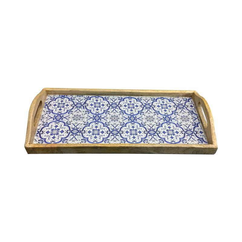 Benson Wooden Tray with Handle, Rectangular