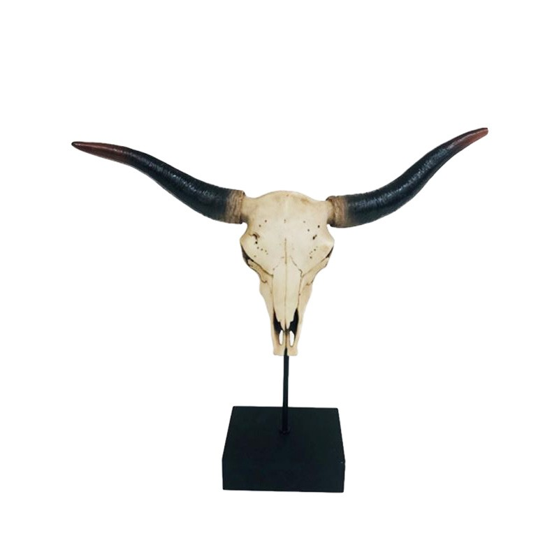 Buffalo Skull Scuplture on Stand