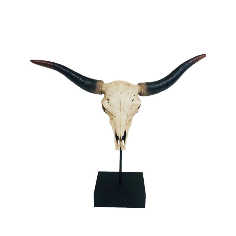 Buffalo Skull Scuplture on Stand