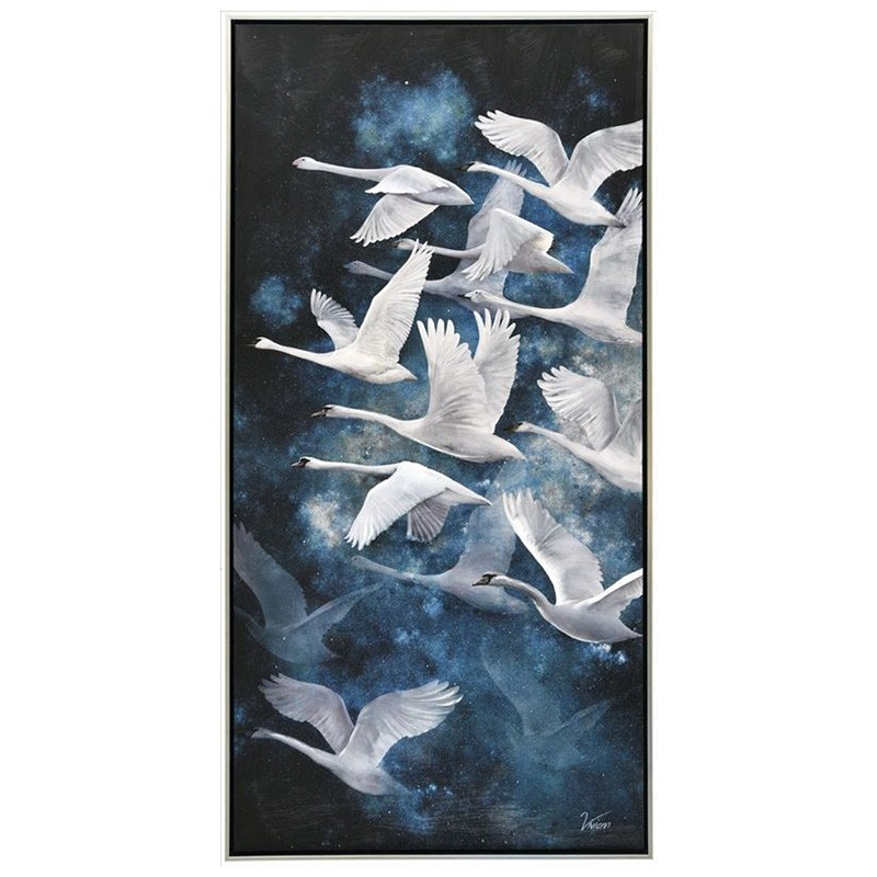 White Swans Framed Canvas Wall Art, 120cm