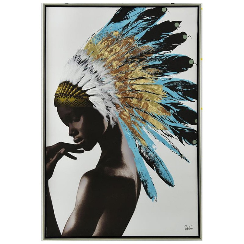 Girl in Indian Tribal Chief Hat Framed Canvas Wall Art, 90cm