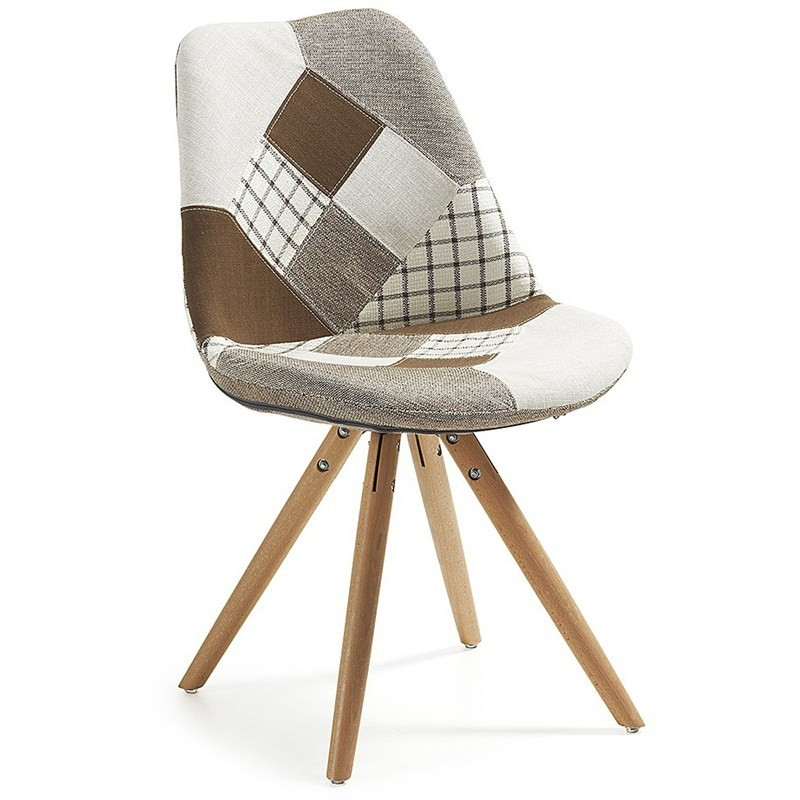 Lakota Fabric Dining Chair, Timber Leg, Brown Patchwork / Natural