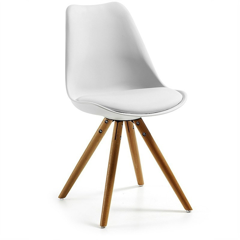 Lakota PU Leather Dining Chair, Timber Leg, White / Natural
