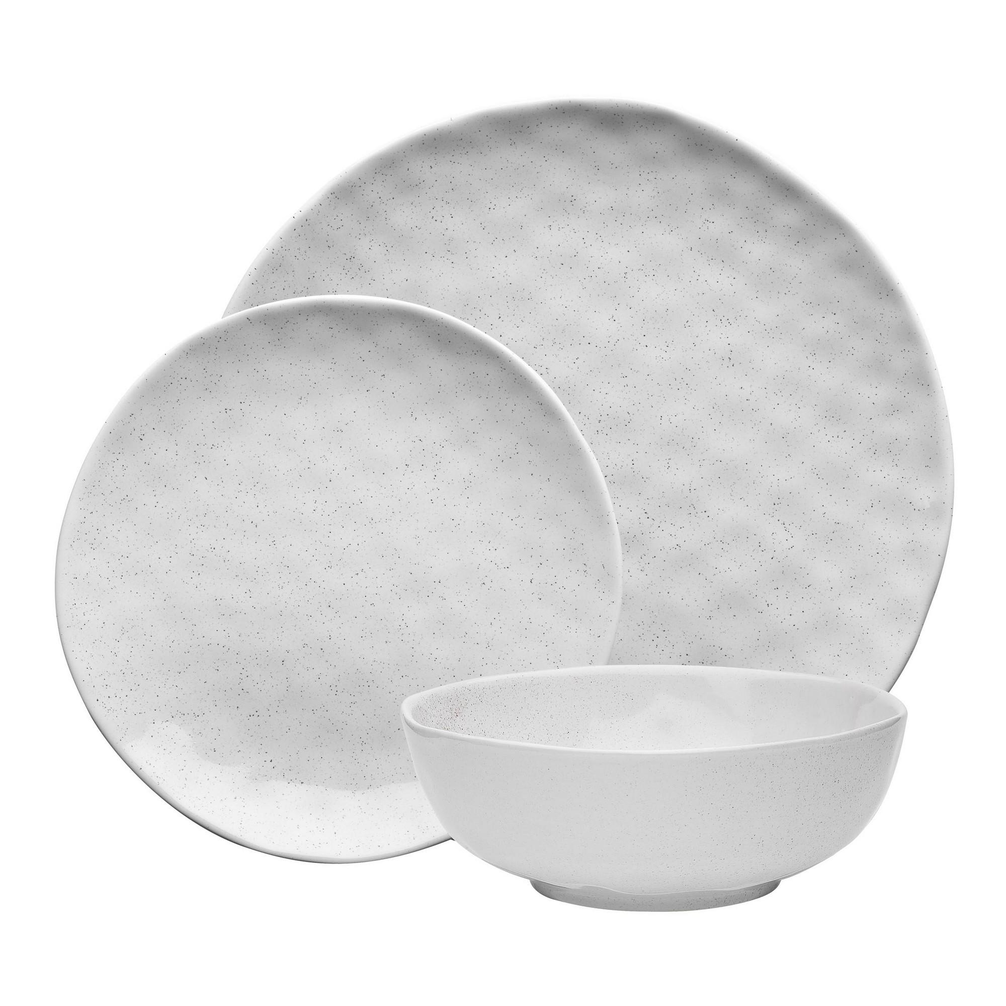 Ecology Speckle 12 Piece Stoneware Dinner Set, Milk