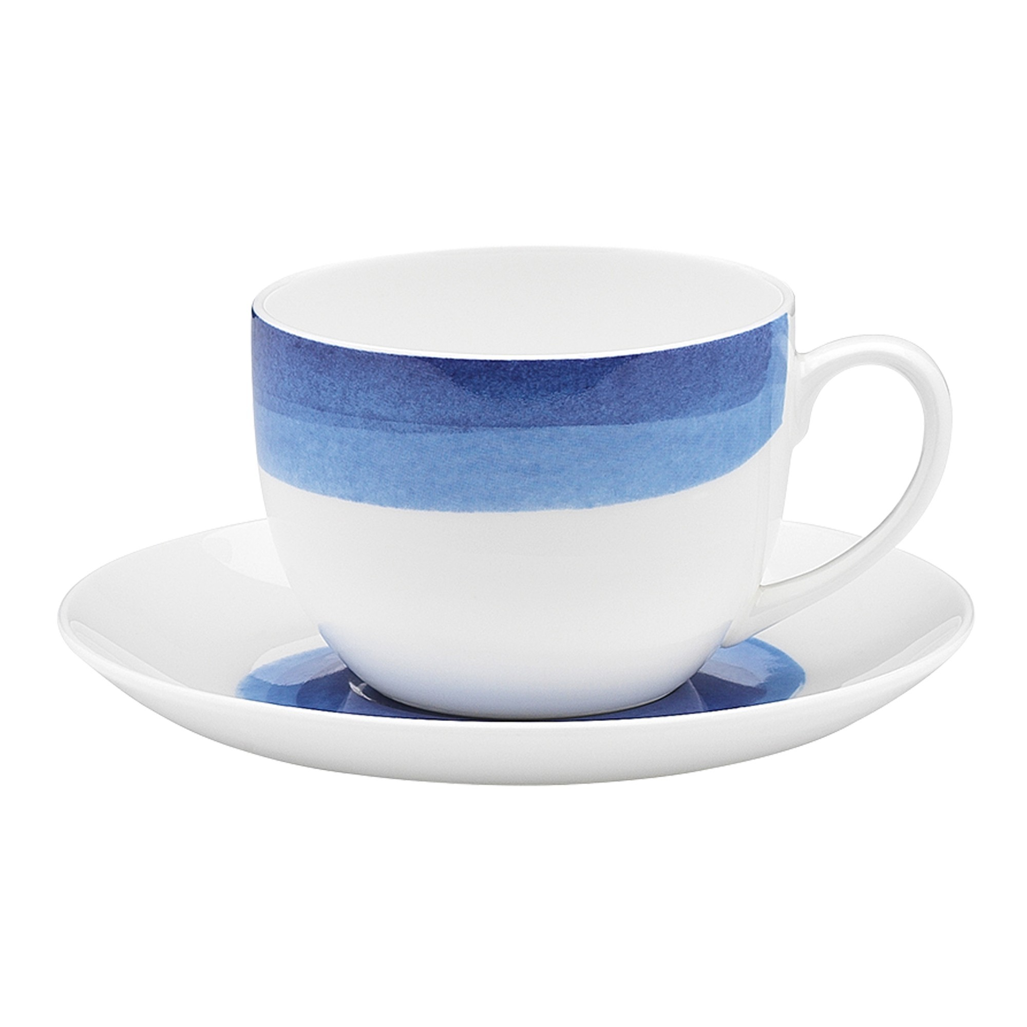 Ecology Watercolour Bone China Teacup & Saucer Set, Set of 6, Ocean