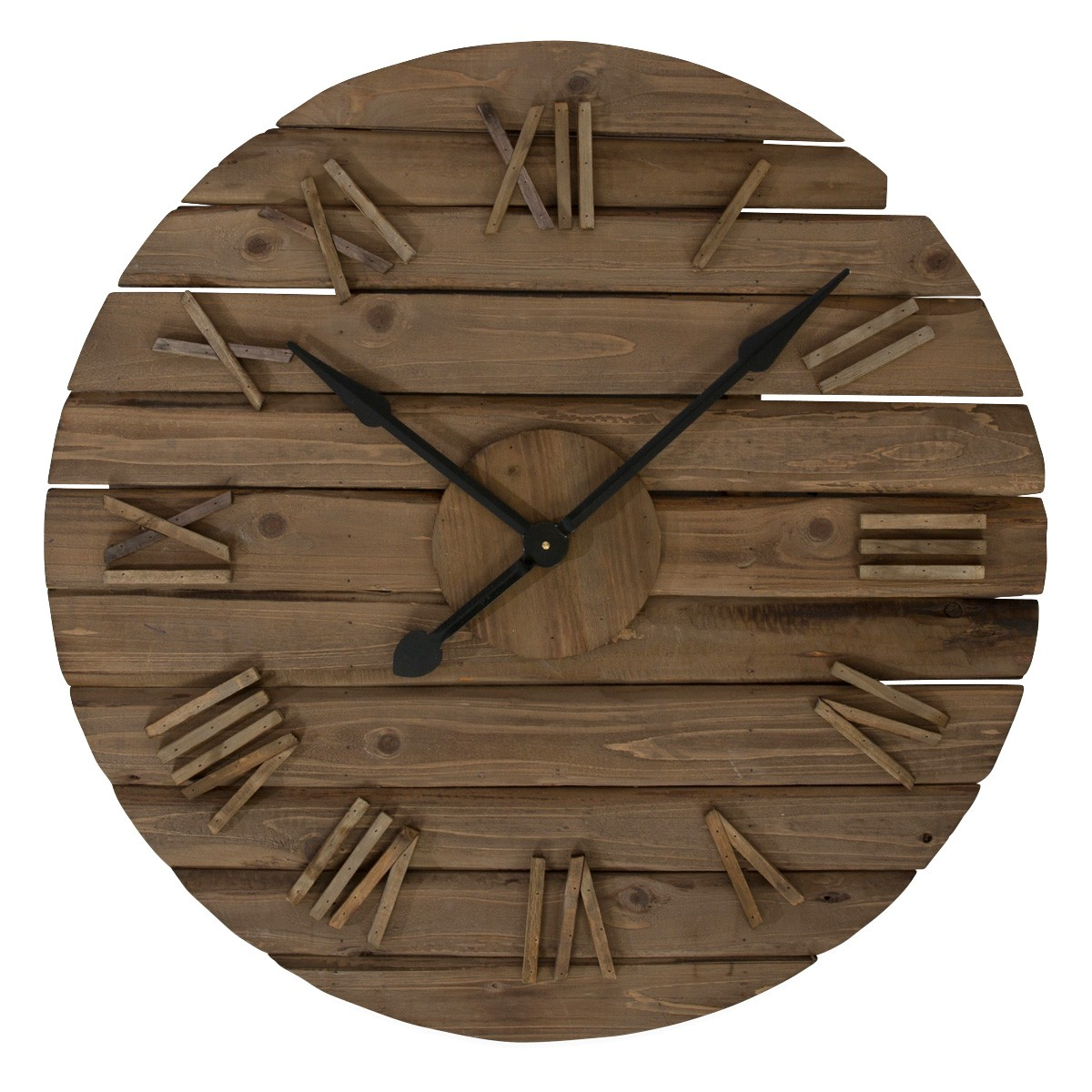 Marshall Fir Wood Round Wall Clock, 80cm