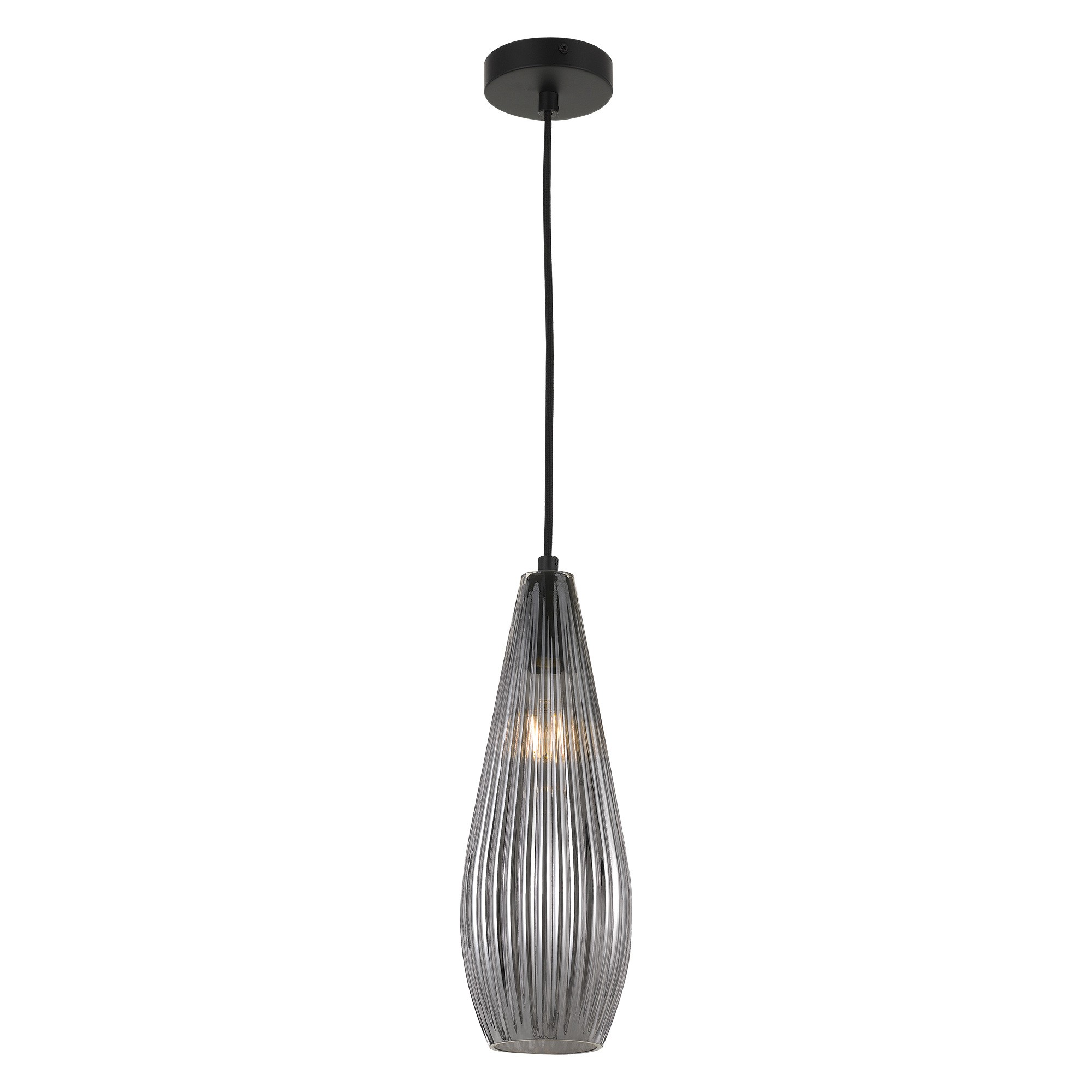 Elkin Ribbed Glass Pendant Light, Smoke