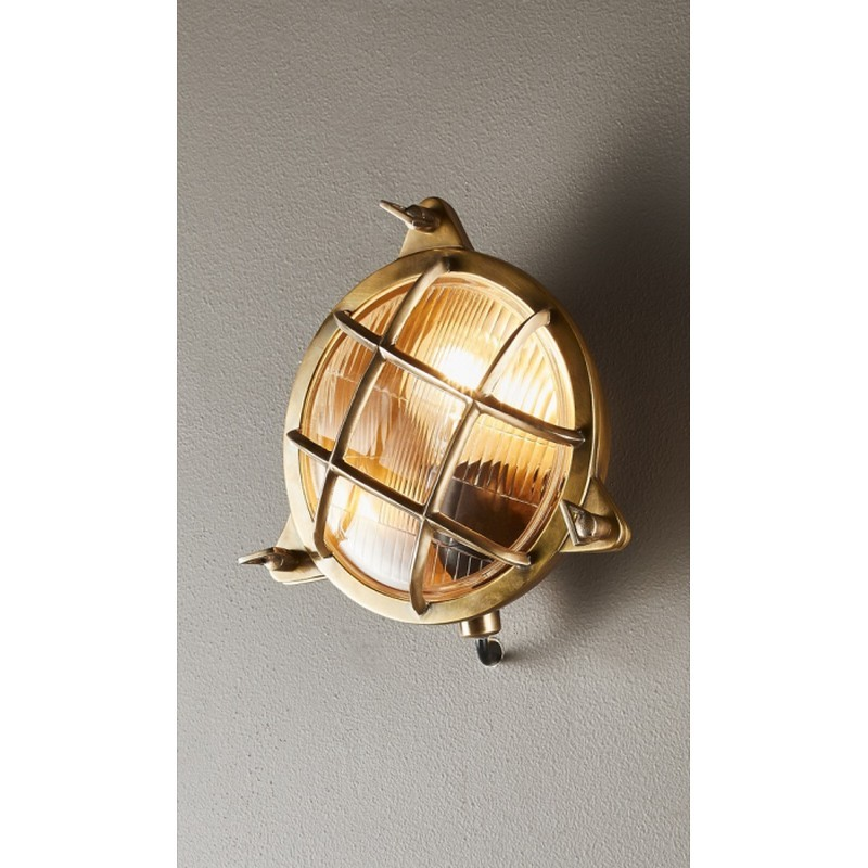 Palmerston Outdoor Metal & Glass Bunker Wall Light, Antique Brass