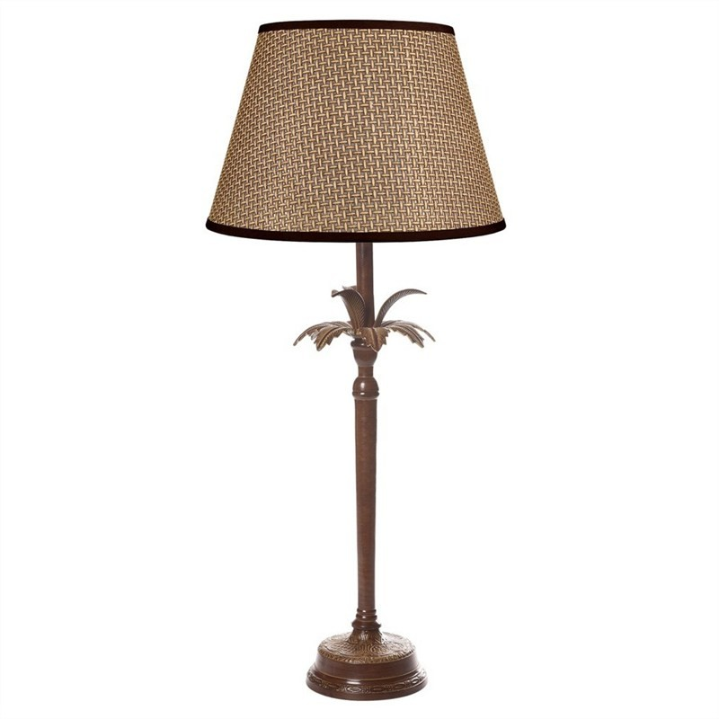 Casablanca Palm Tree Metal Table Lamp - Brown