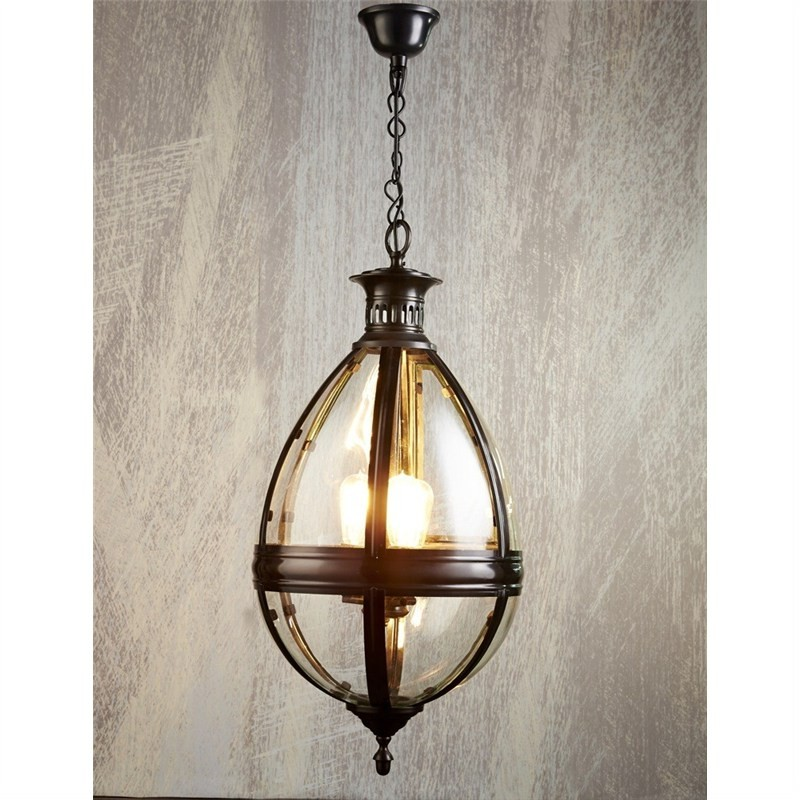 Saville Metal & Glass Pendant Light - Bronze