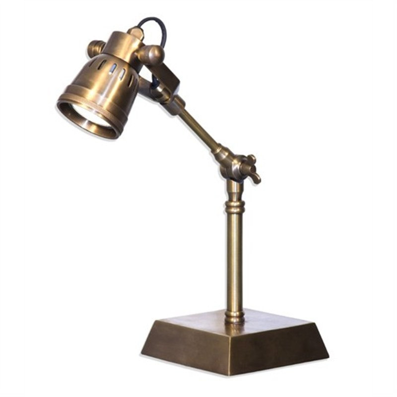 Seattle Metal Desk Lamp, Antique Brass