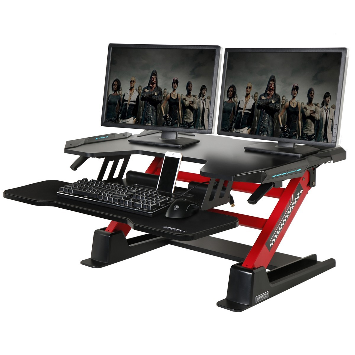 Eureka Ergonomic Adjustable Stand Up Desk Converter, Quick Sit to Stand Tabletop Riser, Black / Red