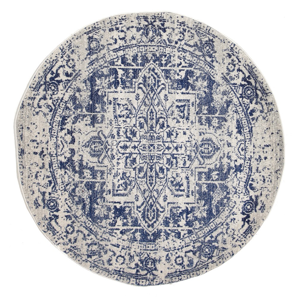 Evoke Muse Turkish Made Oriental Round Rug, 150cm, White / Navy