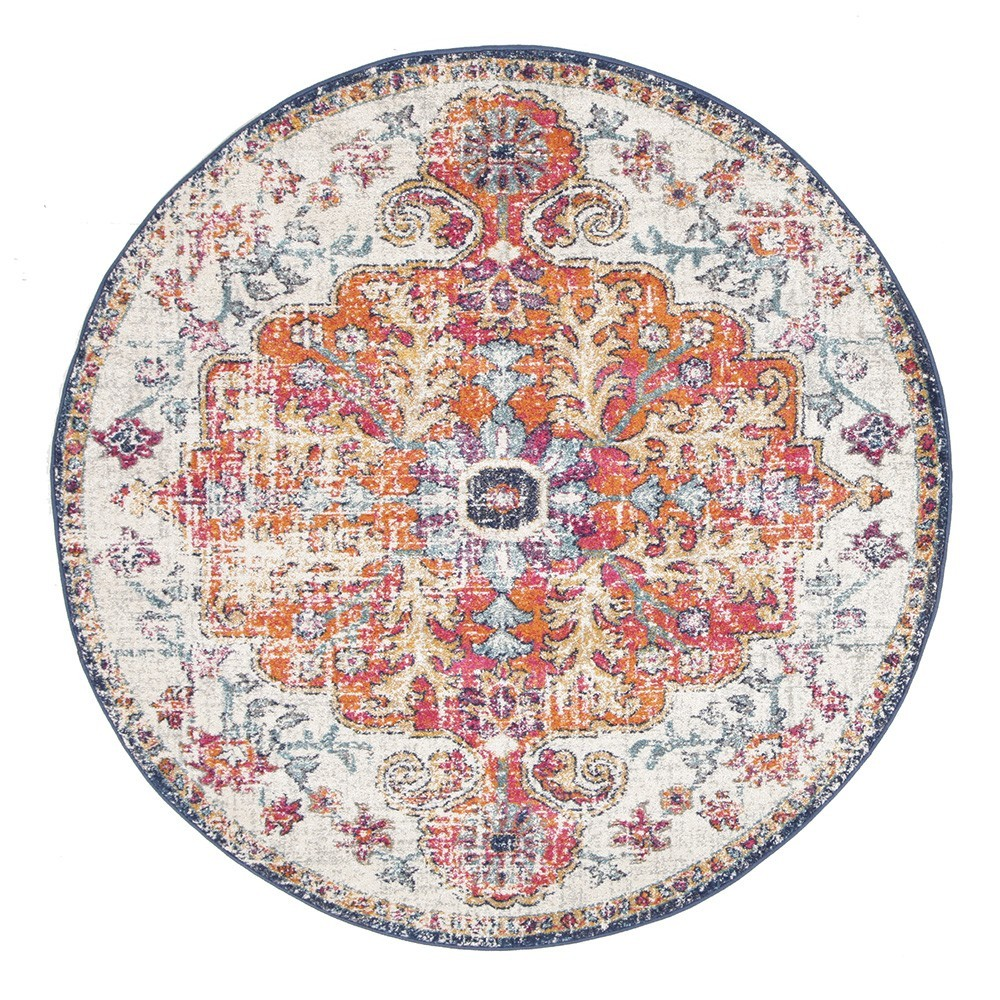 Evoke Carnival Turkish Made Oriental Round Rug, 150cm