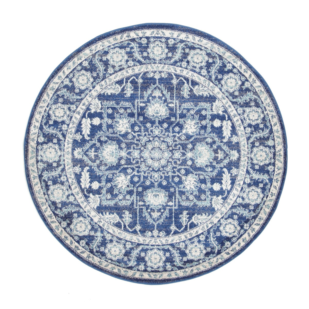 Evoke Release Turkish Made Oriental Round Rug, 150cm, Navy