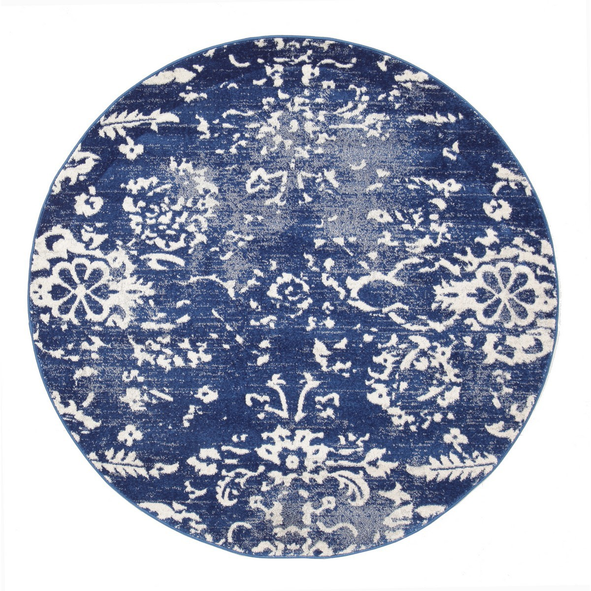 Evoke Skyline Turkish Made Modern Round Rug, 150cm, Navy