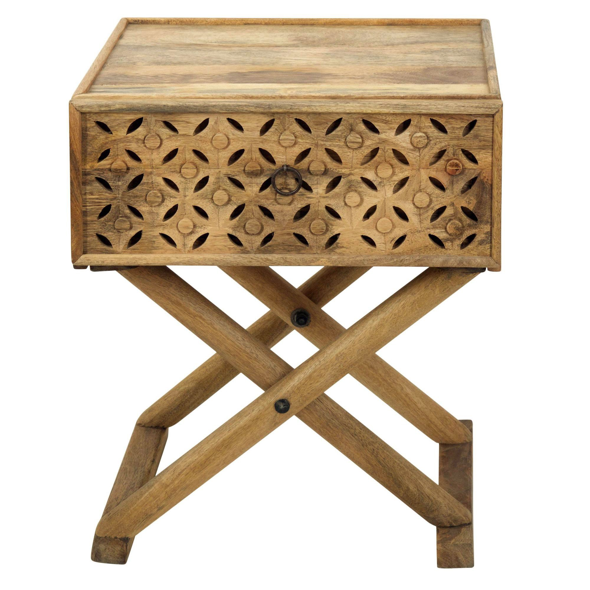 Luxor Carved Timber Criss Cross Side Table, Natural