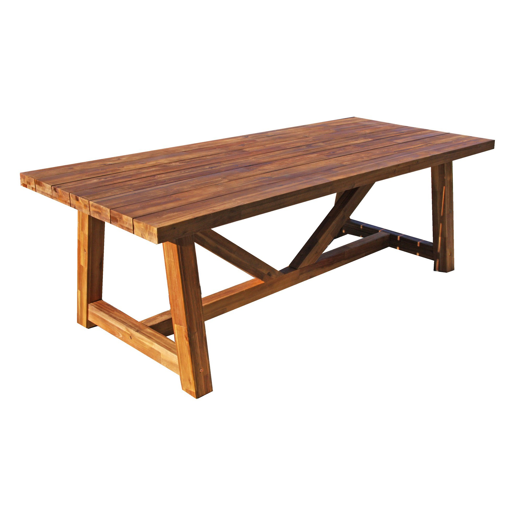 Antigua Acacia Timber Trestle Dining Table, 240cm