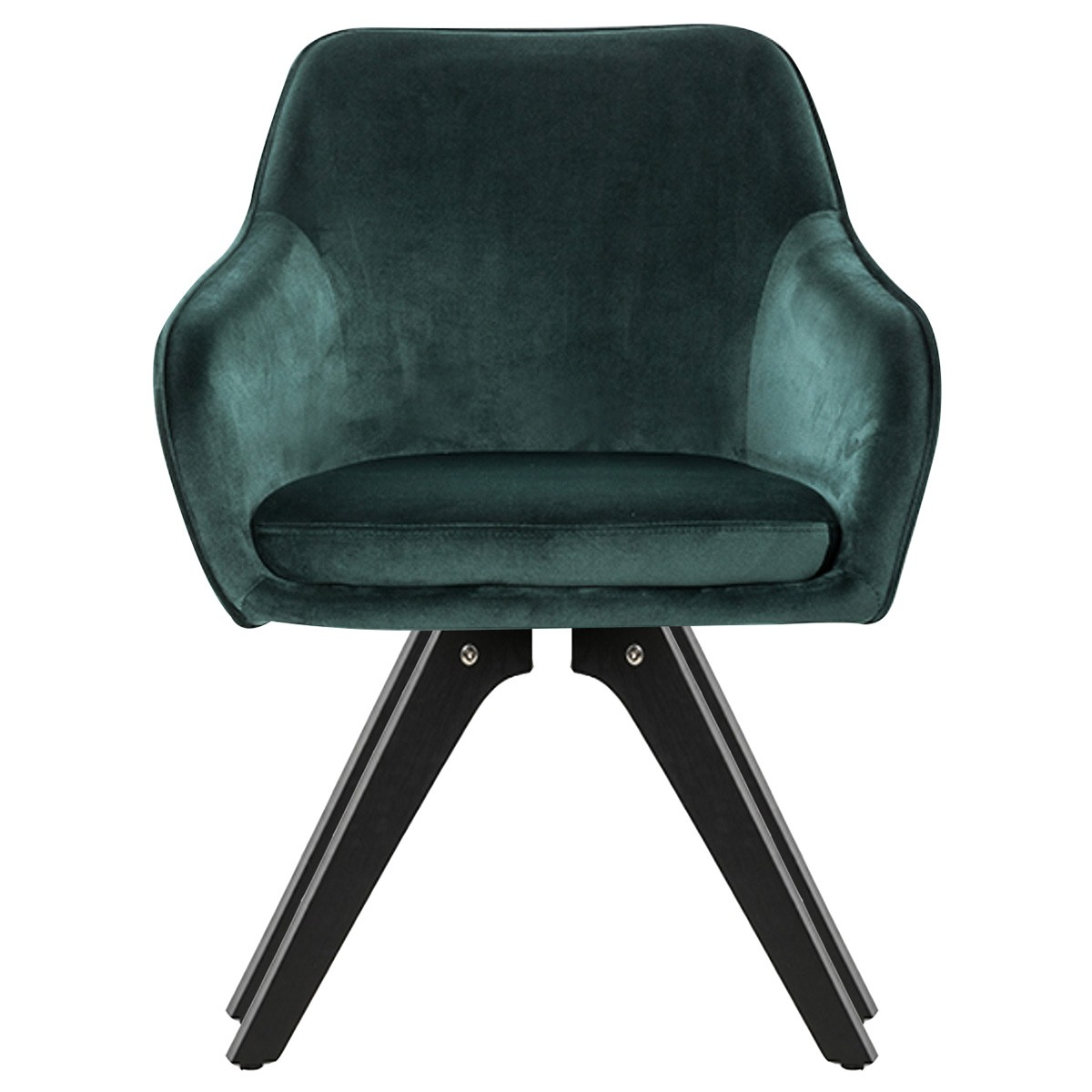 Fabio Velvet Fabric Dining Armchair, Green