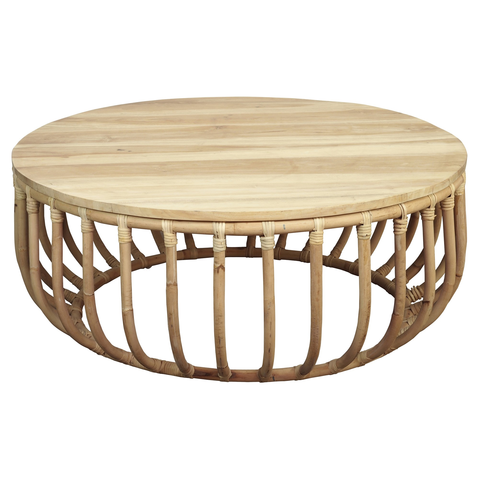Aikko Teak Top Rattan Round Coffee Table, 95cm, Natural