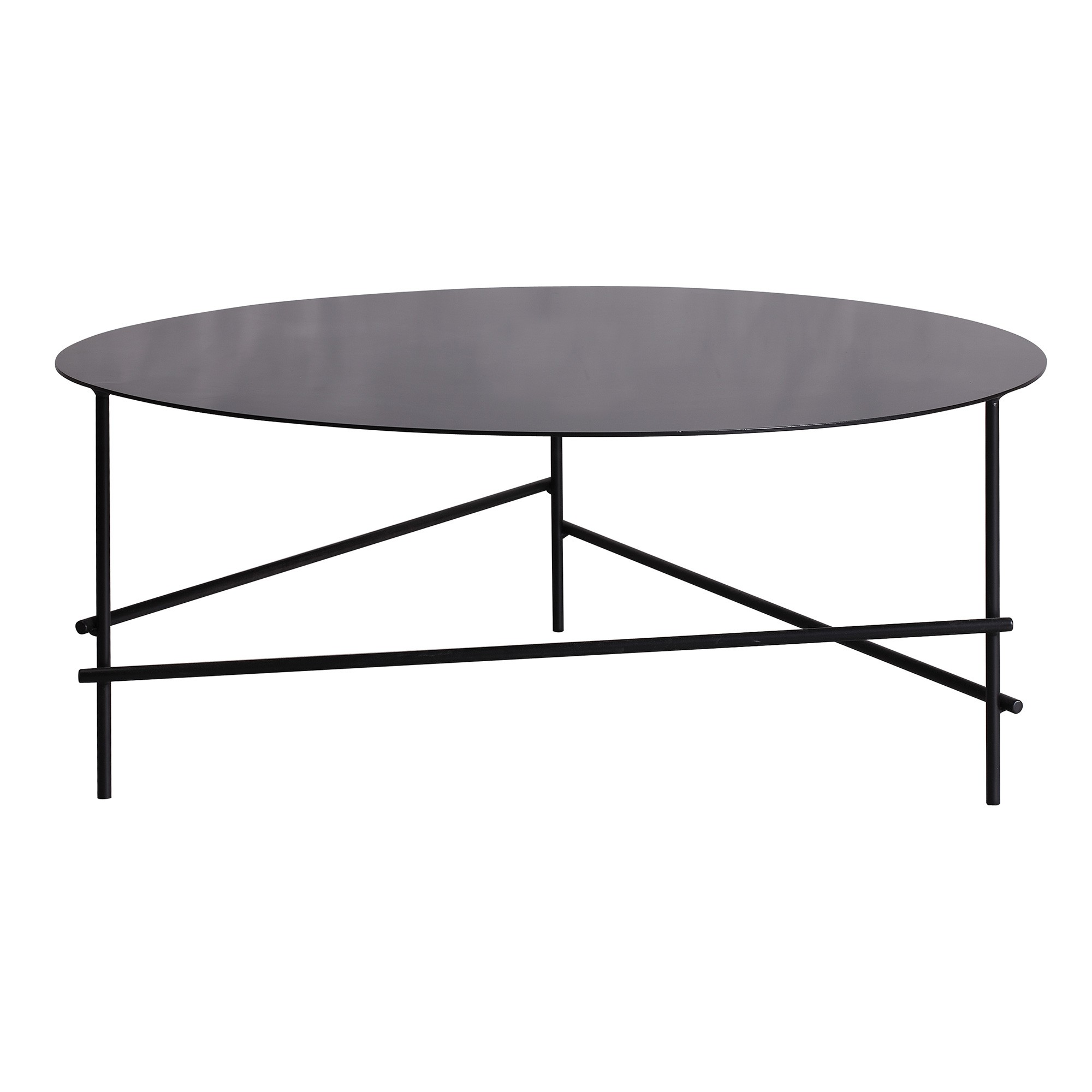 Baker Metal Round Coffee Table, 90cm, Black