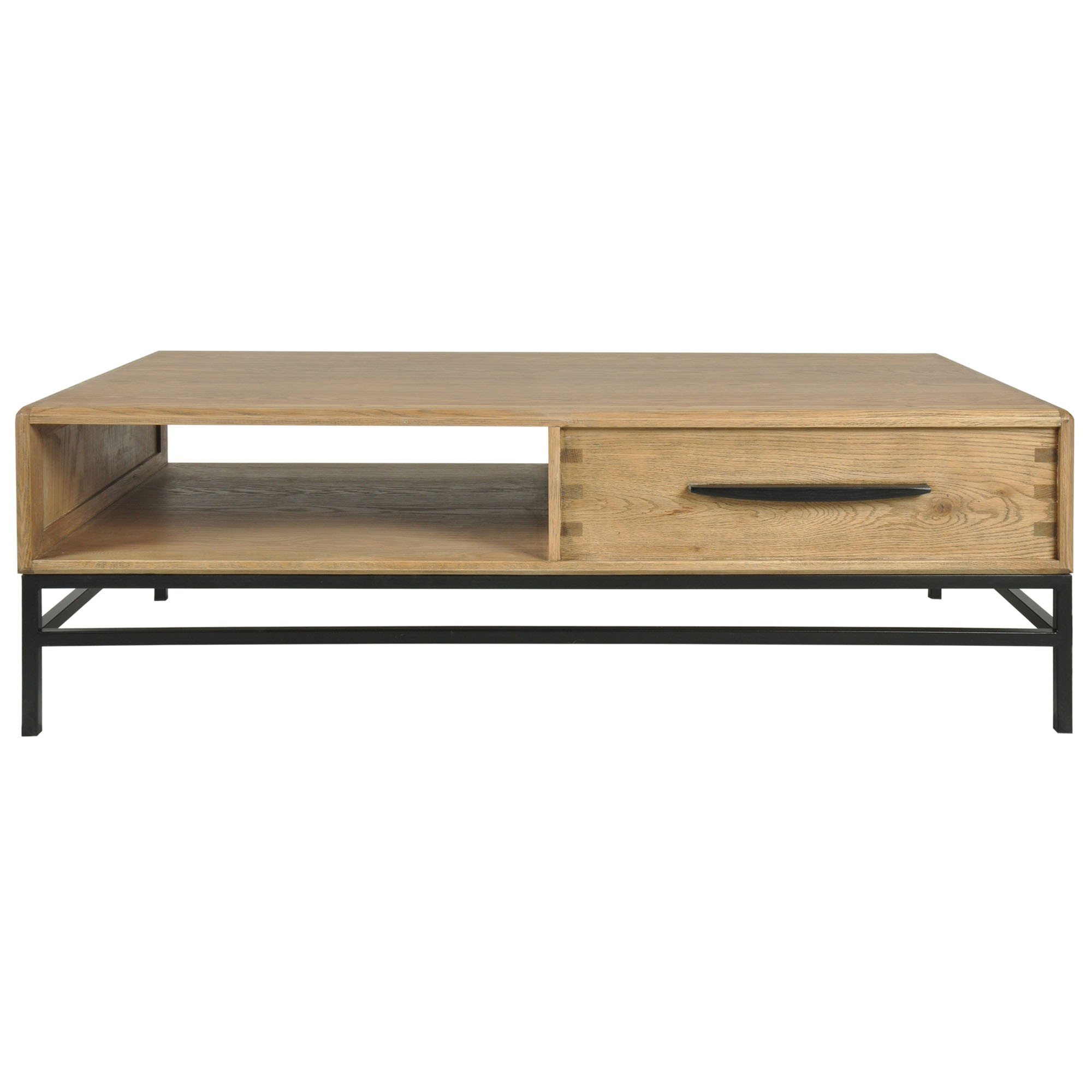 Reverie Oak Timber & Iron Coffee Table, 140cm