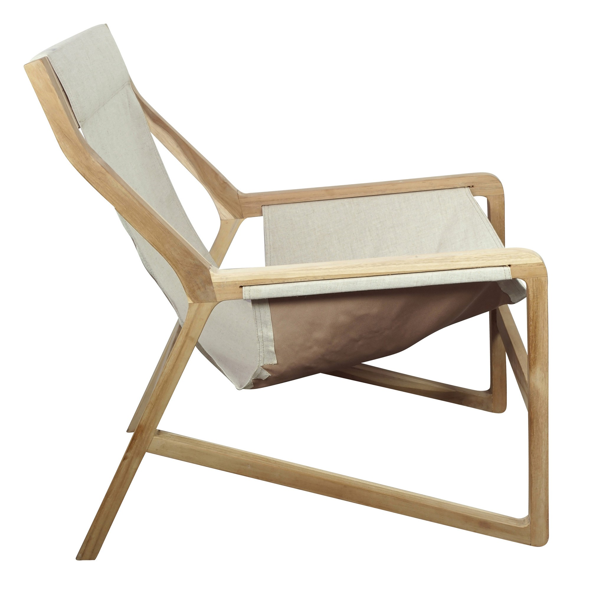 Bowie Teak Lounge Chair, Linen Seat, Beige / Natural
