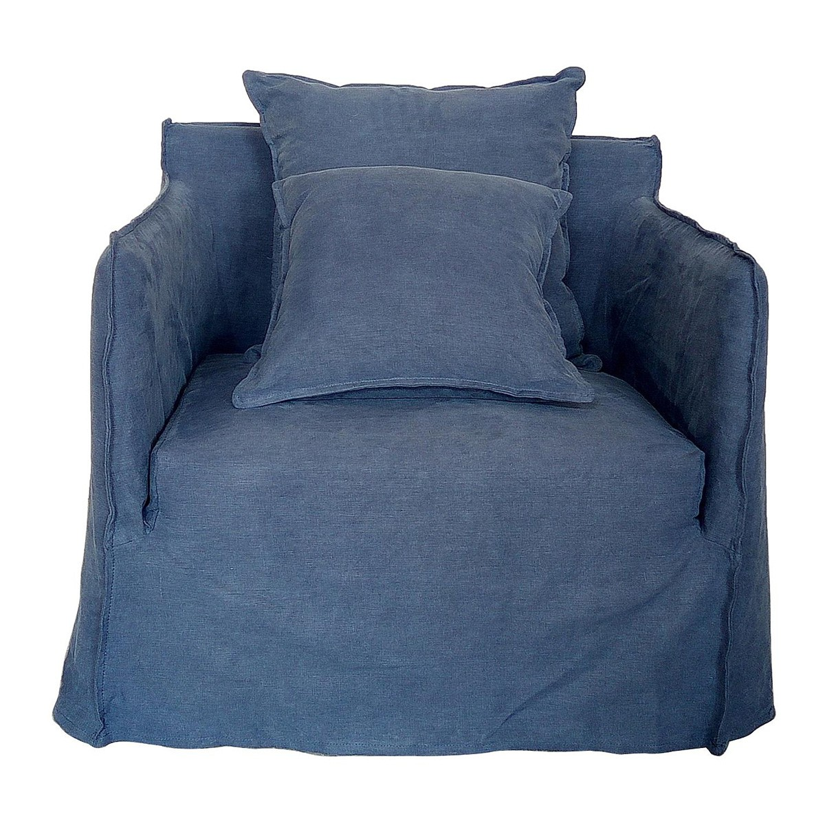 Casper Linen Slipcovered Armchair, Indigo
